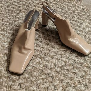 9 West Square Toe Leather heels. Good condition.